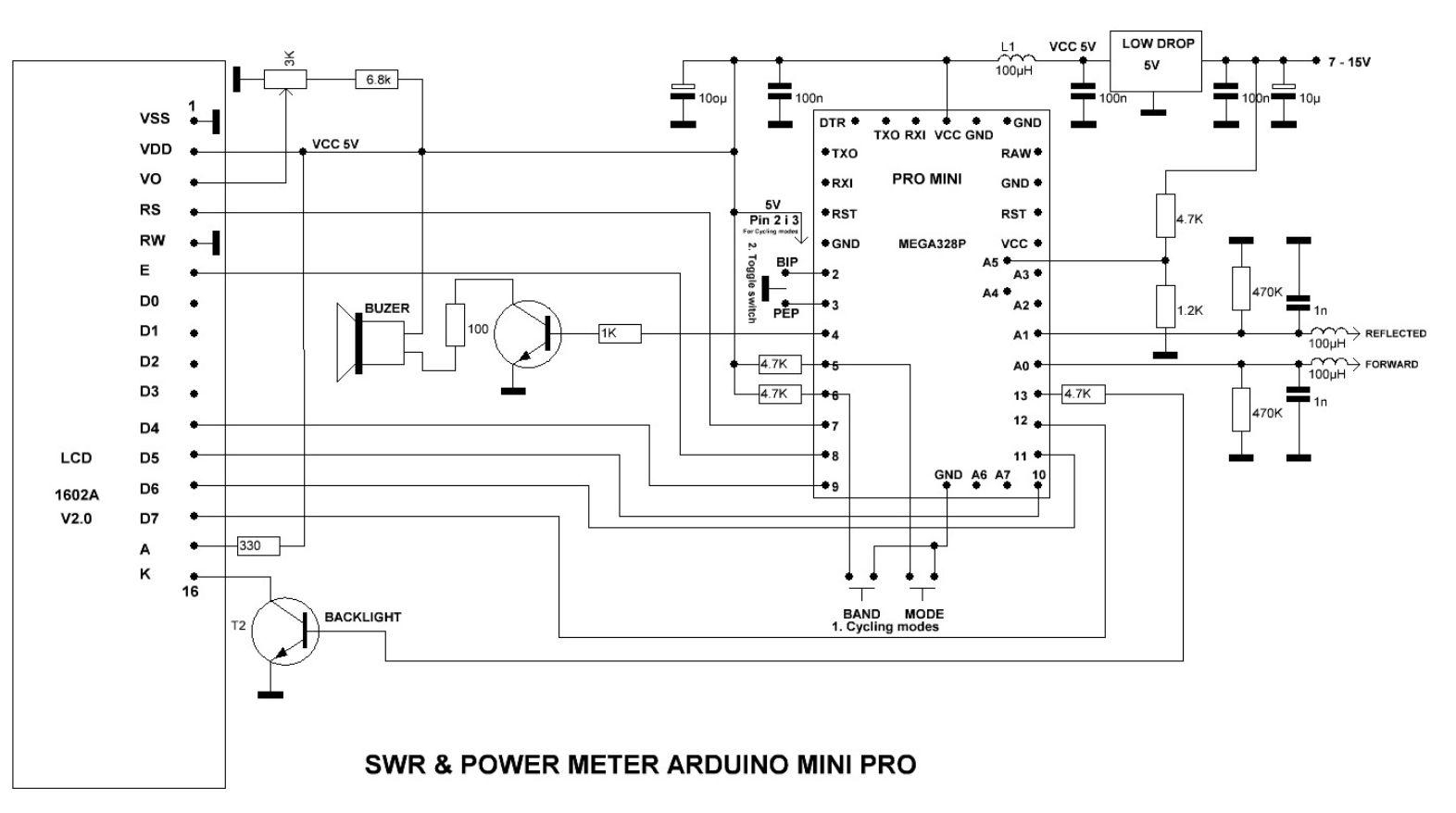 Arduino based simple swr and power meter electronics